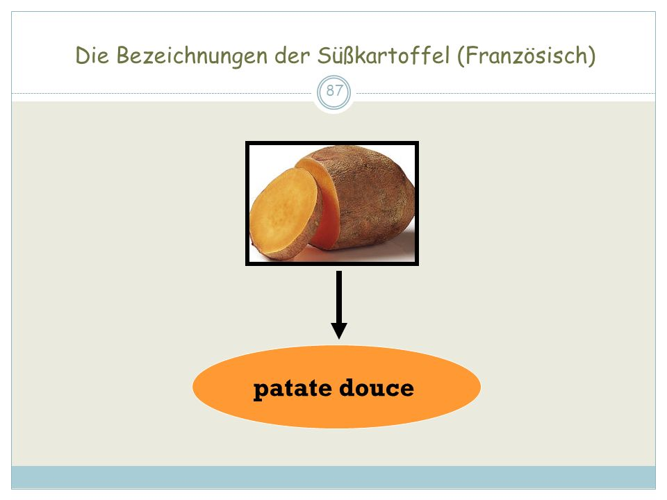 Die Bezeichnungen der Süßkartoffel (Französisch) 87 patate douce