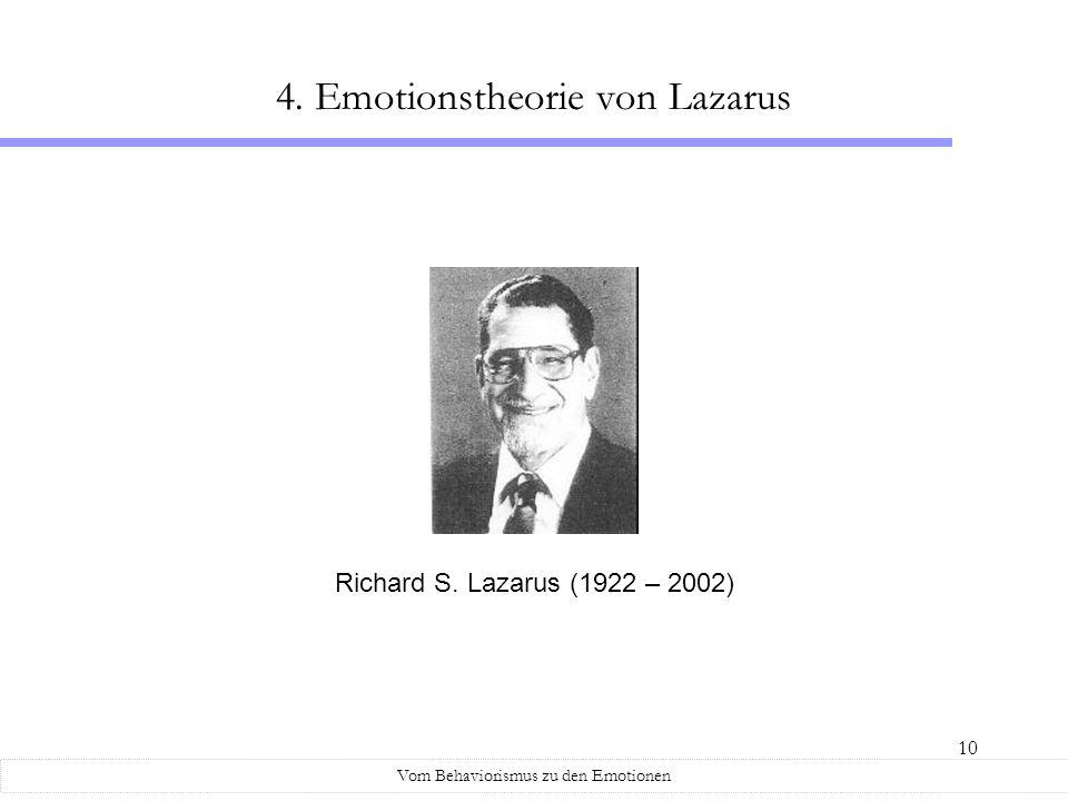 10 4. Emotionstheorie von Lazarus Vom Behaviorismus zu den Emotionen Richard S. Lazarus (1922 – 2002)