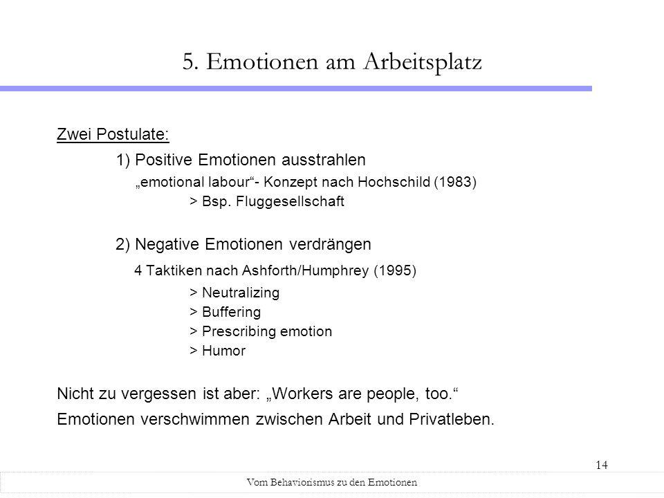 14 Zwei Postulate: 1) Positive Emotionen ausstrahlen emotional labour- Konzept nach Hochschild (1983) > Bsp. Fluggesellschaft 2) Negative Emotionen ve