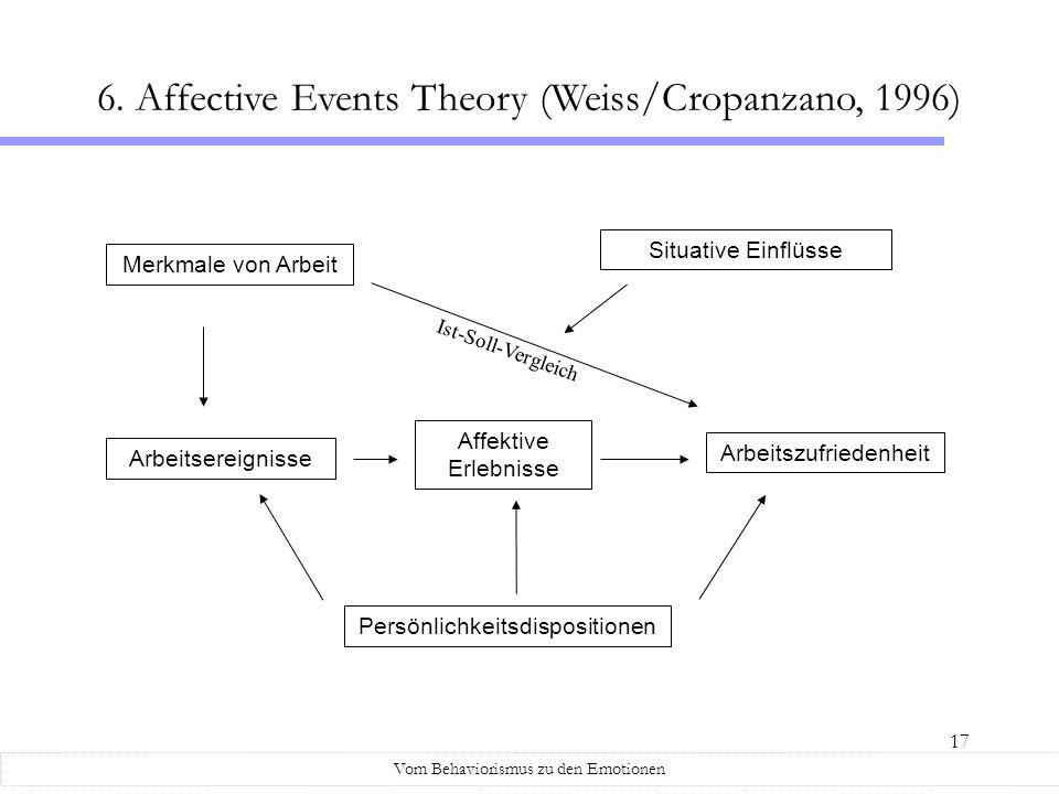 17 Vom Behaviorismus zu den Emotionen 6. Affective Events Theory (Weiss/Cropanzano, 1996) Merkmale von Arbeit Arbeitsereignisse Affektive Erlebnisse A