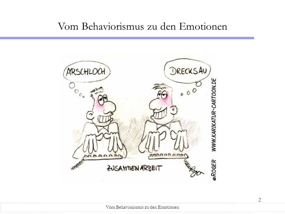 3 1870 – 1920 Bewusstseinspsychologie (James, Darwin): Erste Emotionstheorien 1920-1970 Behavioristische Revolution (Watson): Vernachlässigung der Emotionen Anfang 1960er Kognitive Wende (Lazarus): subjektives Erleben wird wieder legitimer Untersuchungsgegenstand Seit 1980 Emotional Turn (Scherer): Emotionen entwickeln sich zu wichtigem Forschungsgegenstand,erfassen verschiedene Teilbereiche der Psychologie Vom Behaviorismus zu den Emotionen 1.