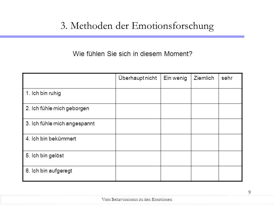 9 Vom Behaviorismus zu den Emotionen 3. Methoden der Emotionsforschung Überhaupt nichtEin wenigZiemlichsehr 1. Ich bin ruhig 2. Ich fühle mich geborge