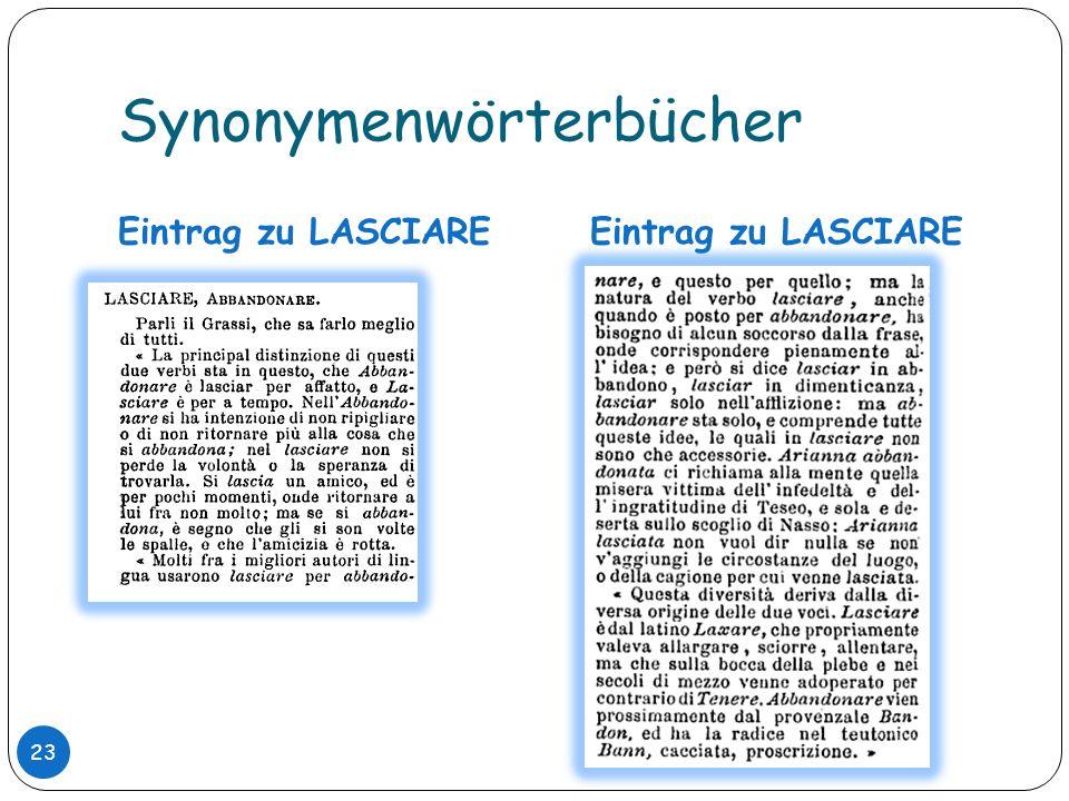 Synonymenwörterbücher Eintrag zu LASCIARE 23