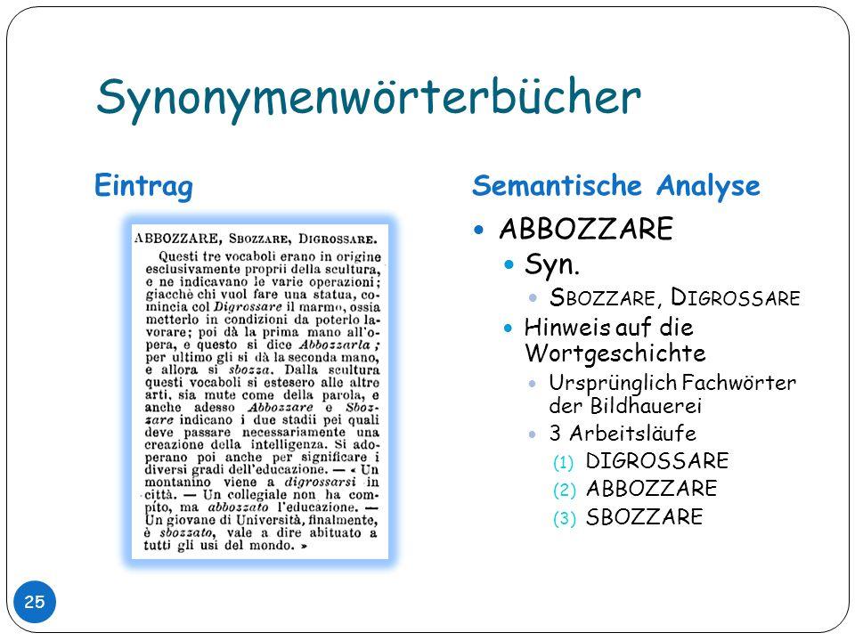 Synonymenwörterbücher EintragSemantische Analyse ABBOZZARE Syn. S BOZZARE, D IGROSSARE Hinweis auf die Wortgeschichte Ursprünglich Fachwörter der Bild