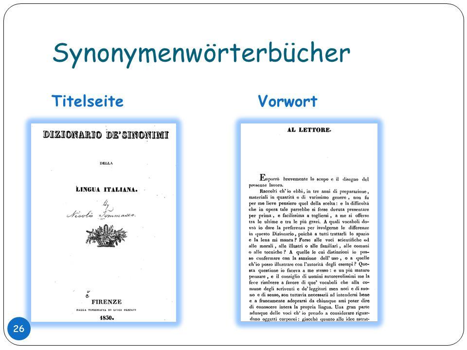 Synonymenwörterbücher TitelseiteVorwort 26