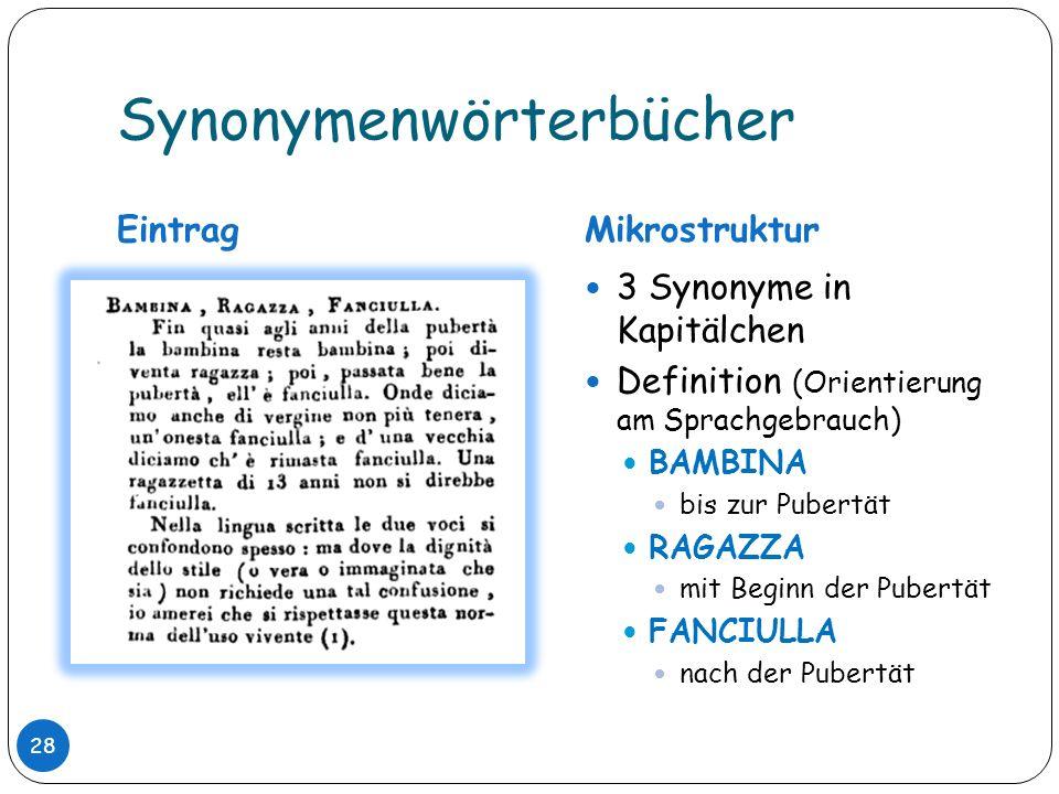 Synonymenwörterbücher EintragMikrostruktur 3 Synonyme in Kapitälchen Definition (Orientierung am Sprachgebrauch) BAMBINA bis zur Pubertät RAGAZZA mit
