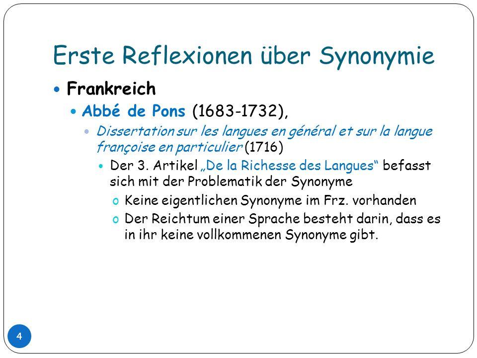 Erste Reflexionen über Synonymie Frankreich Abbé de Pons (1683-1732), Dissertation sur les langues en général et sur la langue françoise en particulie