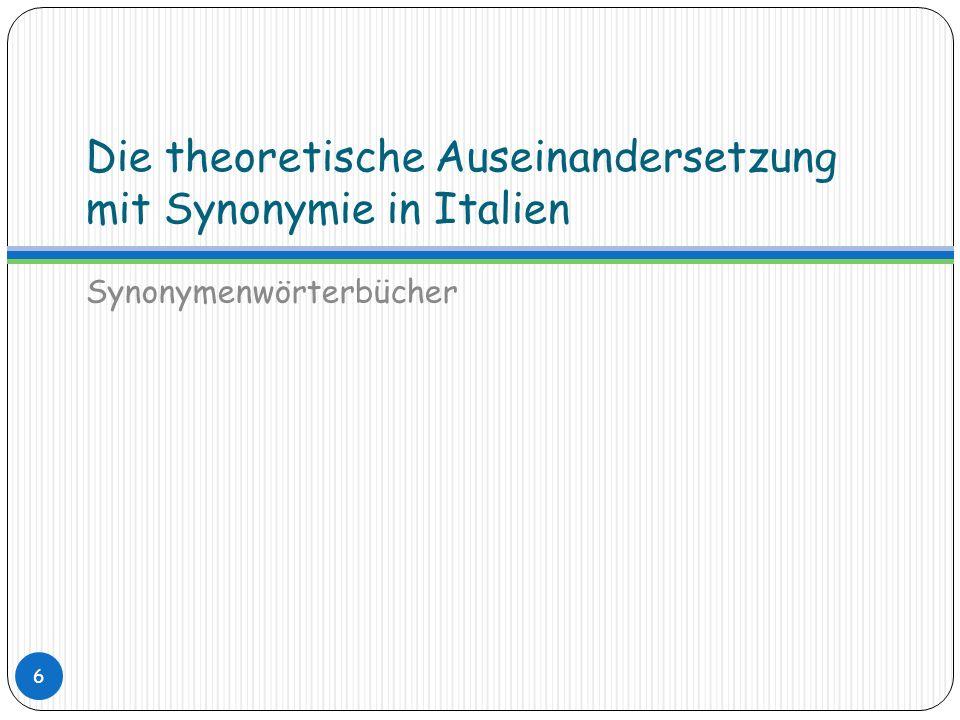 Synonymenwörterbücher MAKROSTRUKTUR Kein einzelnes Lemma, sondern Gruppen von Synonymen, die nicht alphabetisch geordnet sind Einer alphabetischen Ordnung folgen lediglich die erstgenannten Synonyme Im Artikel werden die verschiedenen Synonyme nacheinander erklärt 27