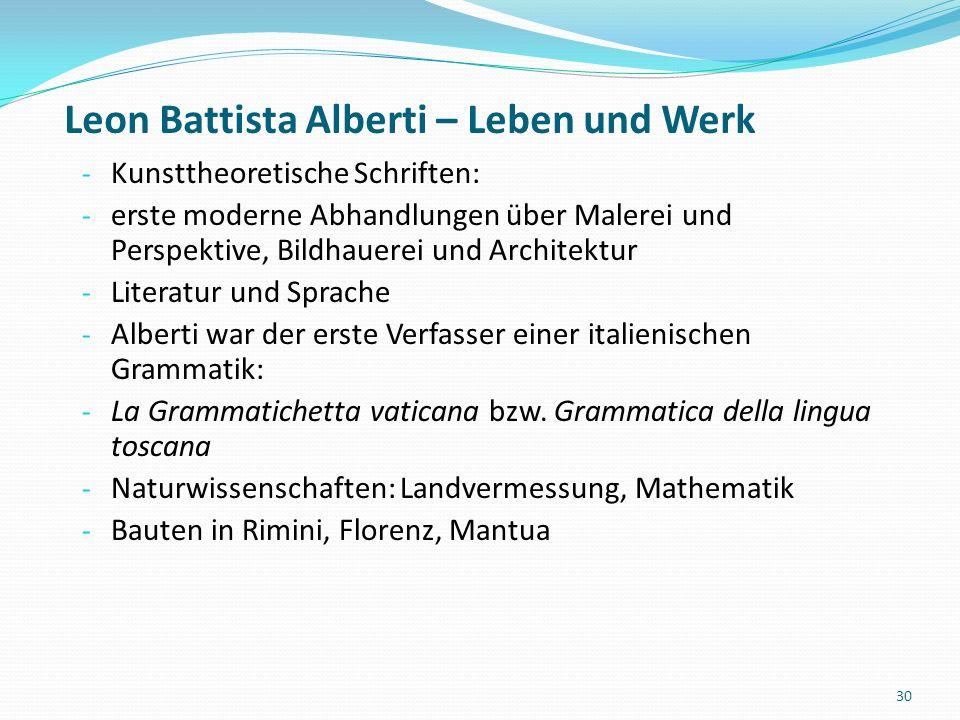 Leon Battista Alberti – Leben und Werk - *1404 in Genua - 1474 in Rom - Die Familie Alberti war eine florentinische Kaufmannsfamilie - 1420-25: Jurastudium in Bologna - ab 1428 kirchliche Laufbahn - Alberti ist Universalgelehrter, d.h.