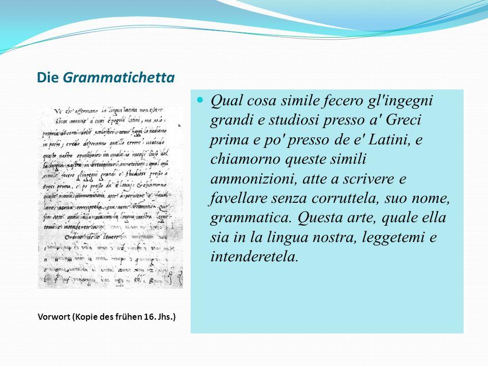 Die Grammatichetta Vorwort (Kopie des frühen 16.