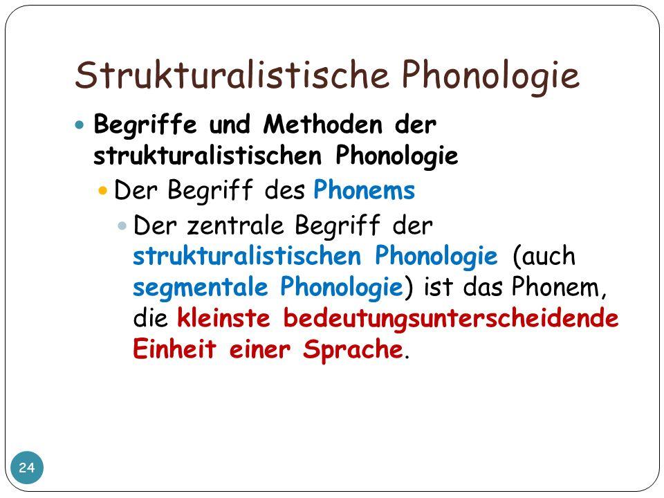 Strukturalistische Phonologie 24 Begriffe und Methoden der strukturalistischen Phonologie Der Begriff des Phonems Der zentrale Begriff der strukturali
