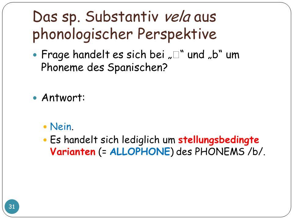 Das sp. Substantiv vela aus phonologischer Perspektive 31 Frage handelt es sich bei und b um Phoneme des Spanischen? Antwort: Nein. Es handelt sich le