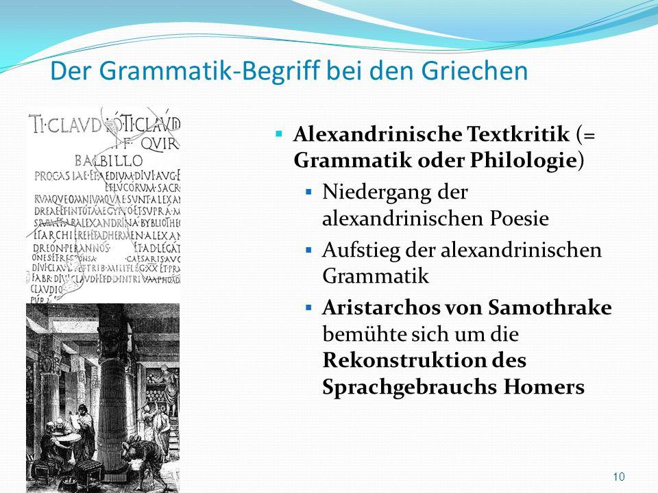 Der Grammatik-Begriff bei den Griechen Alexandrinische Textkritik (= Grammatik oder Philologie) Niedergang der alexandrinischen Poesie Aufstieg der al