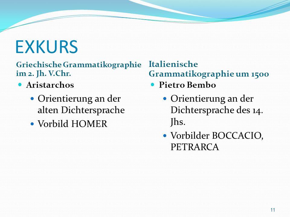 EXKURS Griechische Grammatikographie im 2. Jh. V.Chr. Italienische Grammatikographie um 1500 Aristarchos Orientierung an der alten Dichtersprache Vorb