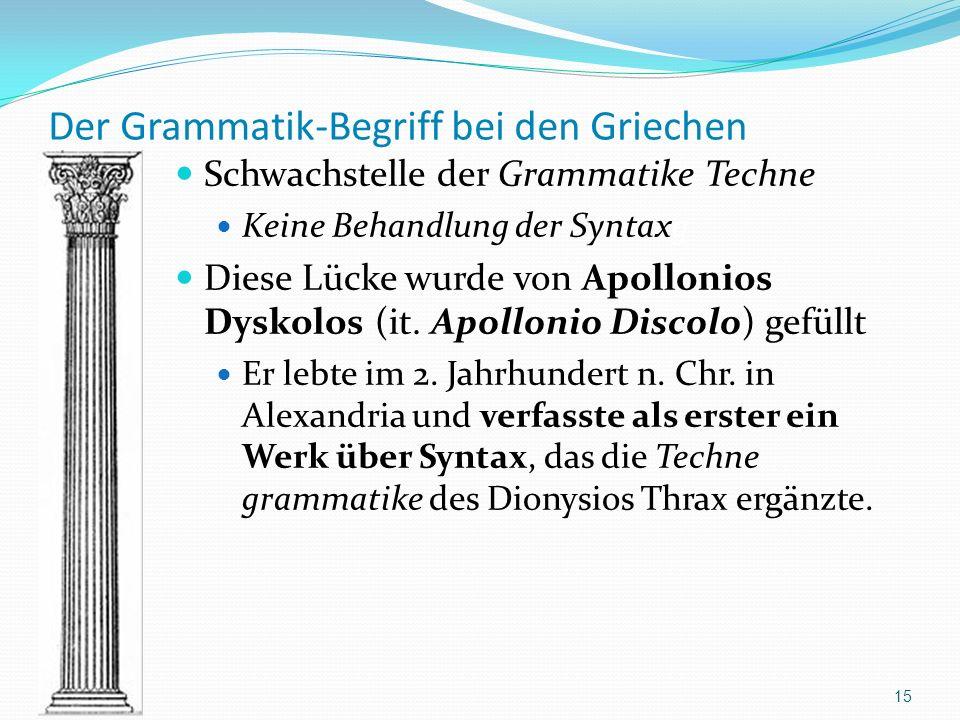 Der Grammatik-Begriff bei den Griechen Schwachstelle der Grammatike Techne Keine Behandlung der Syntaxg Diese Lücke wurde von Apollonios Dyskolos (it.