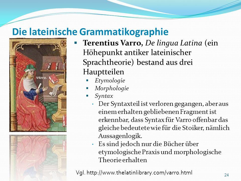 Die lateinische Grammatikographie Terentius Varro, De lingua Latina (ein Höhepunkt antiker lateinischer Sprachtheorie) bestand aus drei Hauptteilen Et