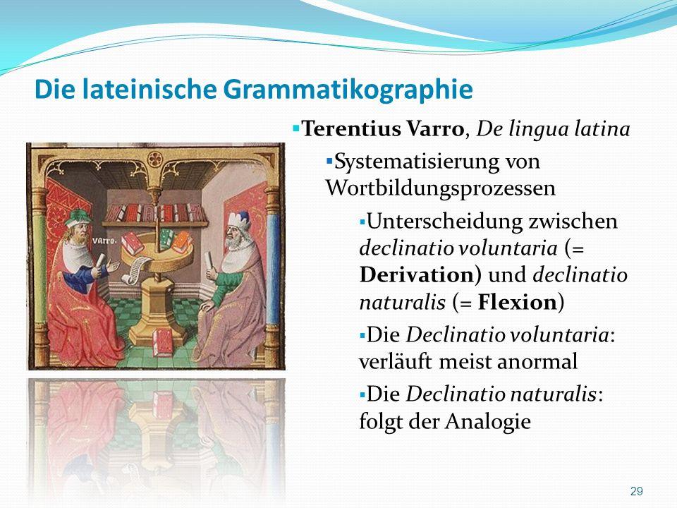 Die lateinische Grammatikographie Terentius Varro, De lingua latina Systematisierung von Wortbildungsprozessen Unterscheidung zwischen declinatio volu