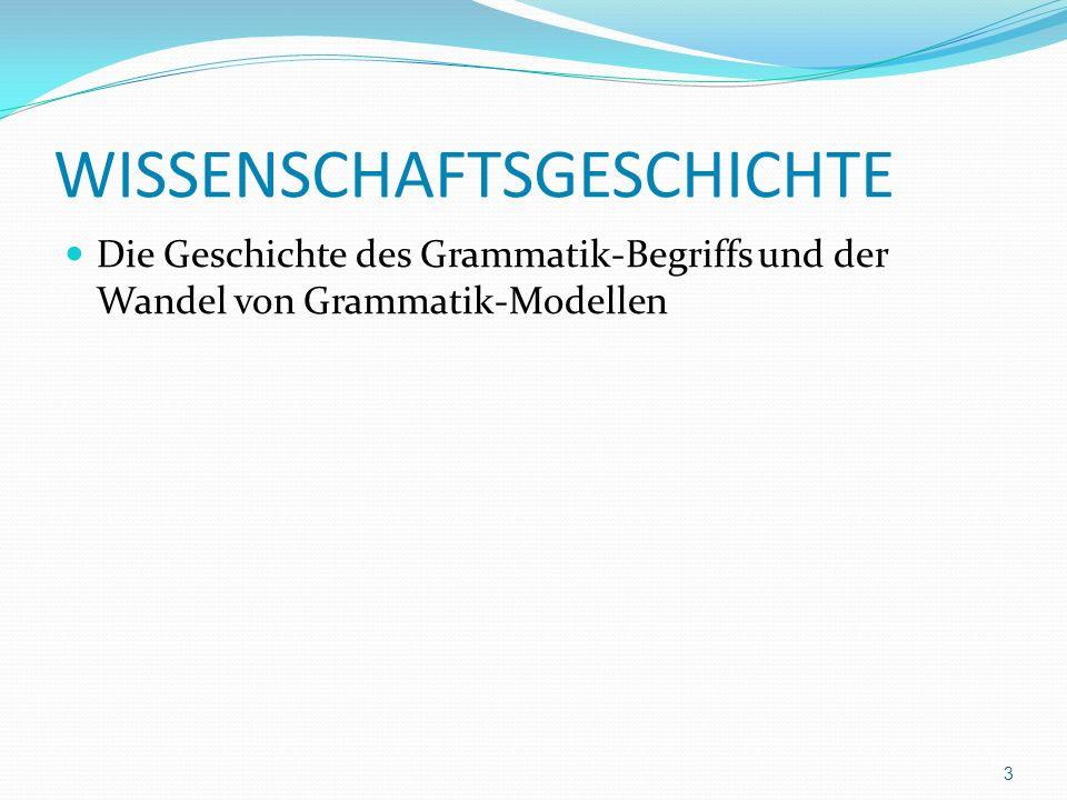 WISSENSCHAFTSGESCHICHTE Die Geschichte des Grammatik-Begriffs und der Wandel von Grammatik-Modellen 3