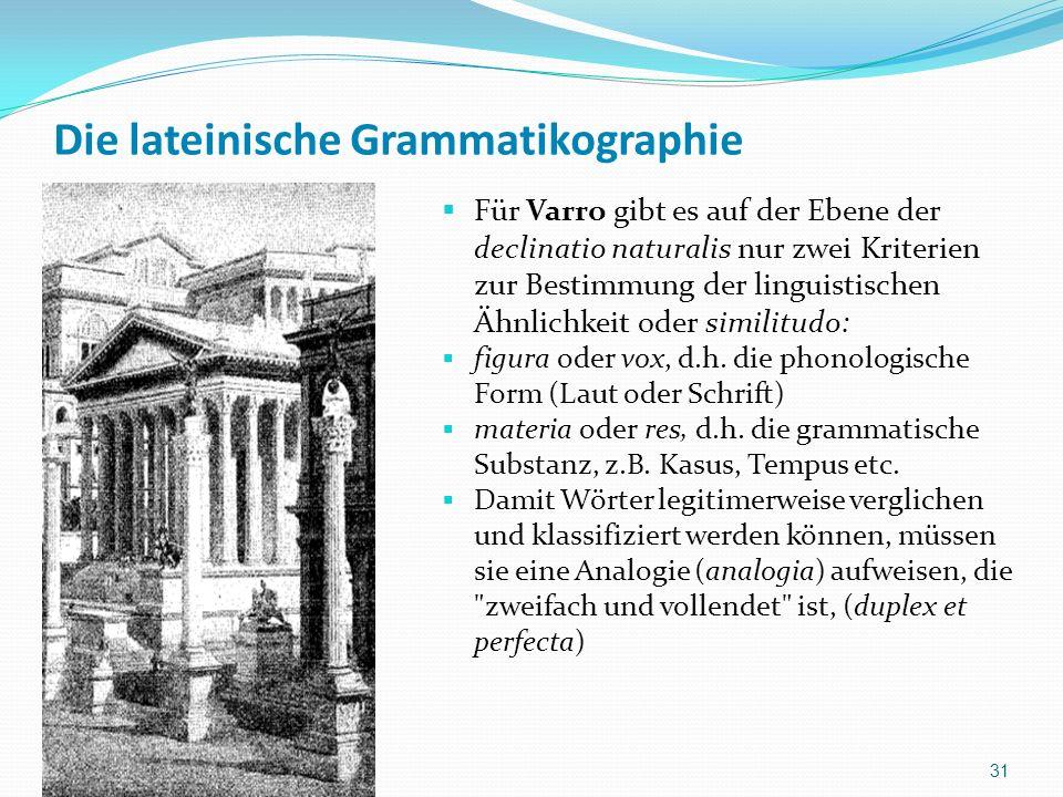 Die lateinische Grammatikographie Für Varro gibt es auf der Ebene der declinatio naturalis nur zwei Kriterien zur Bestimmung der linguistischen Ähnlichkeit oder similitudo: figura oder vox, d.h.