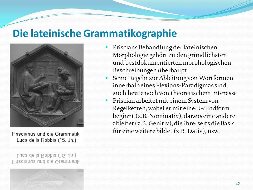 Die lateinische Grammatikographie Priscians Behandlung der lateinischen Morphologie gehört zu den gründlichsten und bestdokumentierten morphologischen