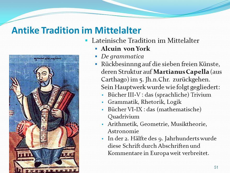 Antike Tradition im Mittelalter Lateinische Tradition im Mittelalter Alcuin von York De grammatica Rückbesinnng auf die sieben freien Künste, deren St