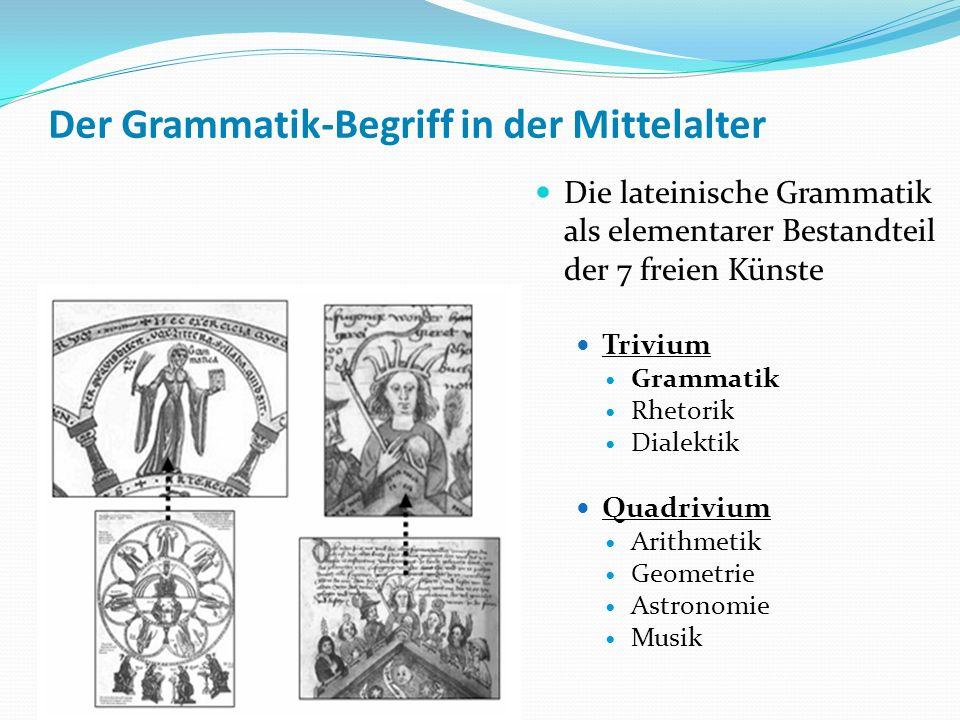 Der Grammatik-Begriff in der Mittelalter Die lateinische Grammatik als elementarer Bestandteil der 7 freien Künste Trivium Grammatik Rhetorik Dialekti