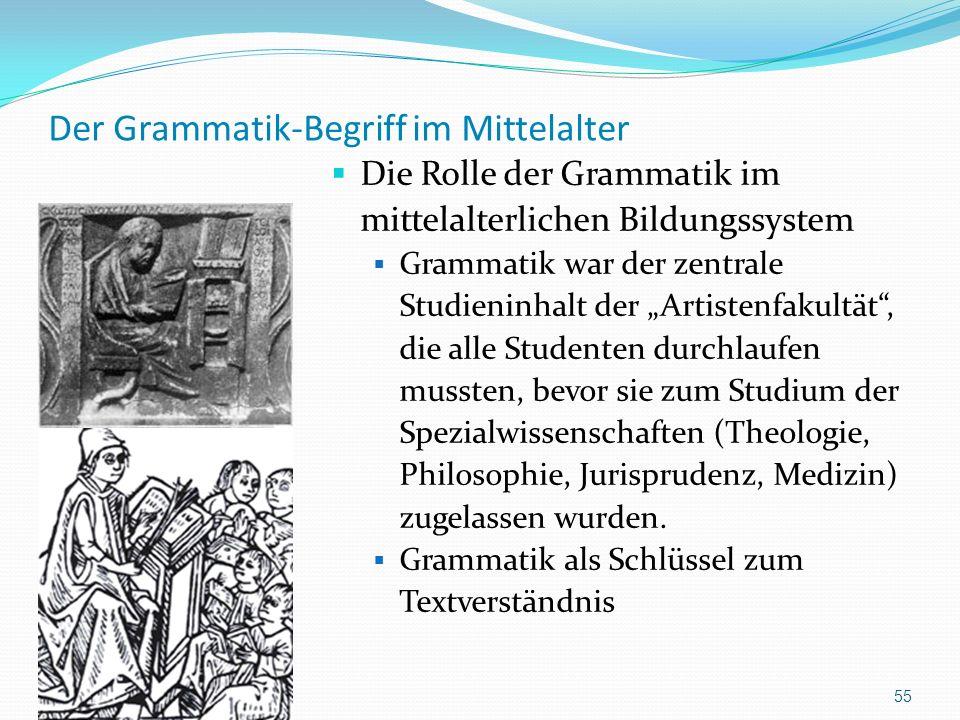 Der Grammatik-Begriff im Mittelalter Die Rolle der Grammatik im mittelalterlichen Bildungssystem Grammatik war der zentrale Studieninhalt der Artisten