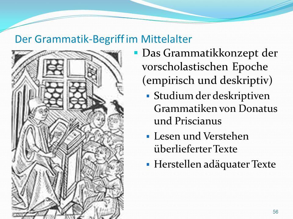 Der Grammatik-Begriff im Mittelalter Das Grammatikkonzept der vorscholastischen Epoche (empirisch und deskriptiv) Studium der deskriptiven Grammatiken