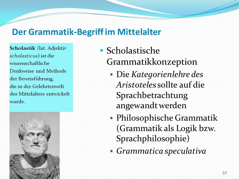 Der Grammatik-Begriff im Mittelalter Scholastik (lat. Adjektiv scholasticus) ist die wissenschaftliche Denkweise und Methode der Beweisführung, die in