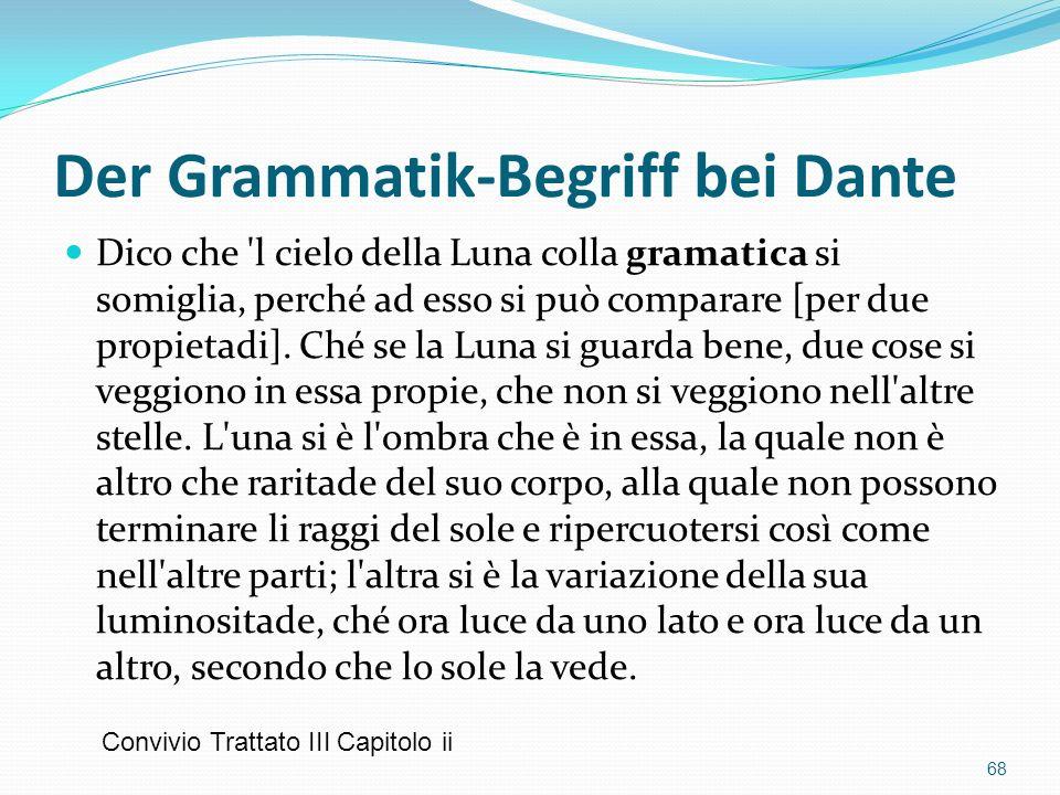 Der Grammatik-Begriff bei Dante Dico che 'l cielo della Luna colla gramatica si somiglia, perché ad esso si può comparare [per due propietadi]. Ché se