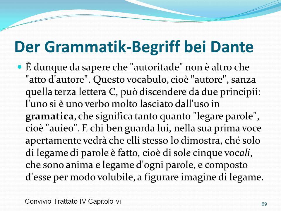 Der Grammatik-Begriff bei Dante È dunque da sapere che
