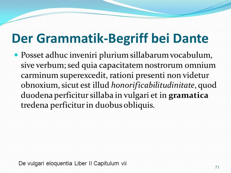 Der Grammatik-Begriff bei Dante Posset adhuc inveniri plurium sillabarum vocabulum, sive verbum; sed quia capacitatem nostrorum omnium carminum supere