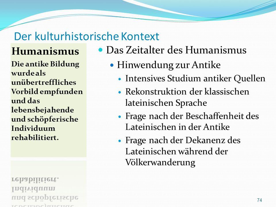 Der kulturhistorische Kontext Das Zeitalter des Humanismus Hinwendung zur Antike Intensives Studium antiker Quellen Rekonstruktion der klassischen lat