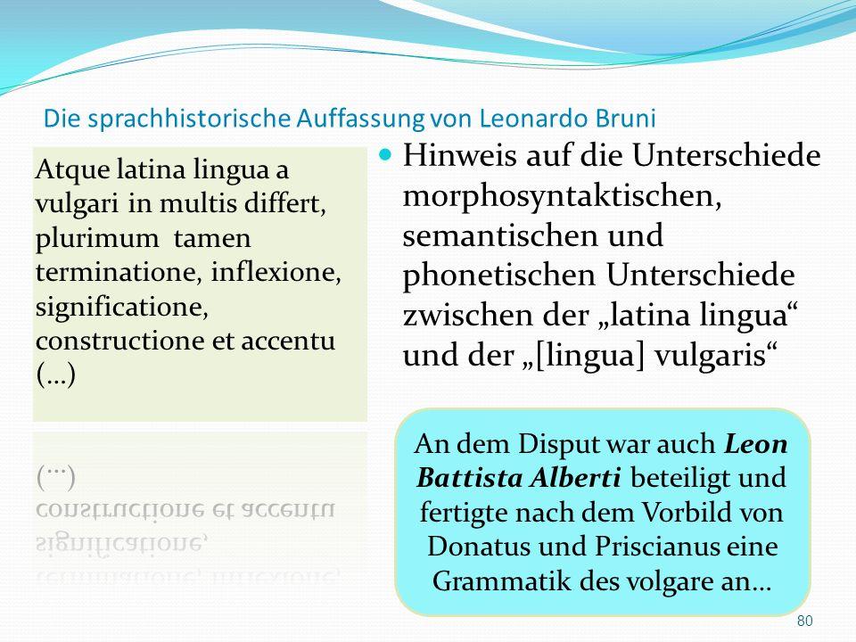 Die sprachhistorische Auffassung von Leonardo Bruni Hinweis auf die Unterschiede morphosyntaktischen, semantischen und phonetischen Unterschiede zwisc