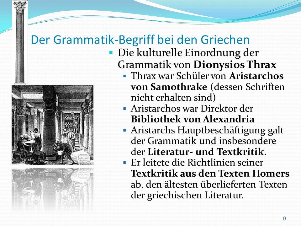 Der Grammatik-Begriff bei den Griechen Die kulturelle Einordnung der Grammatik von Dionysios Thrax Thrax war Schüler von Aristarchos von Samothrake (d