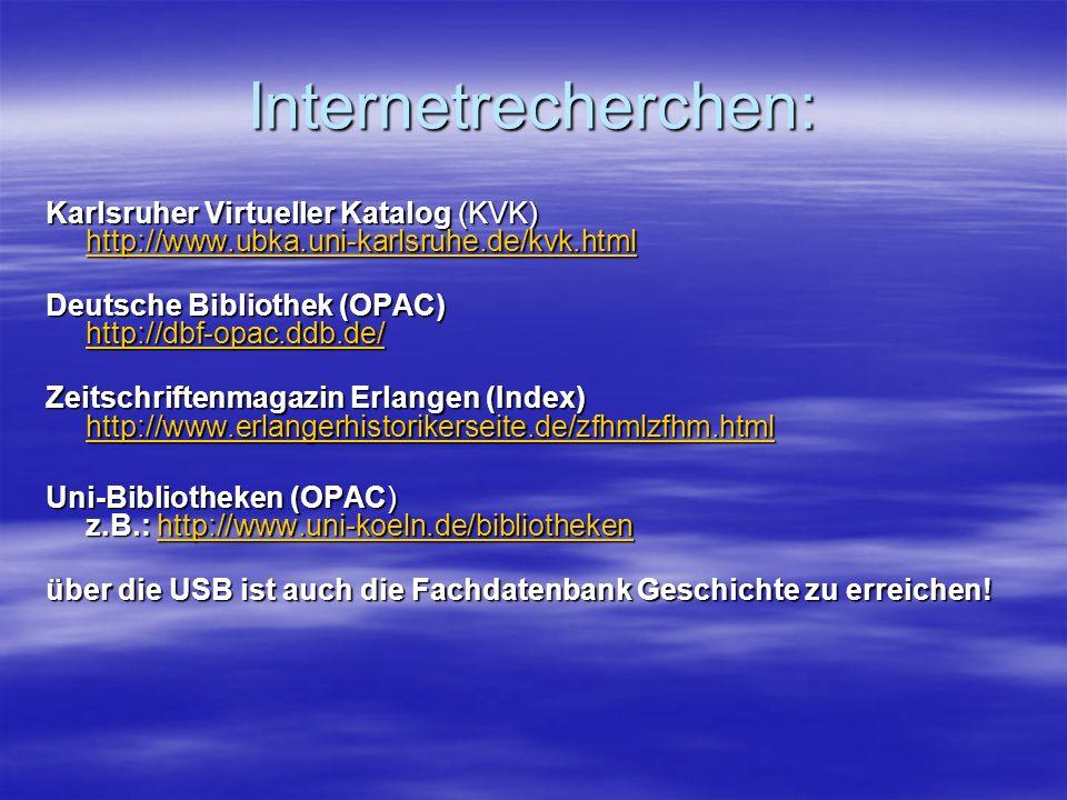 Internetrecherchen: Karlsruher Virtueller Katalog (KVK) http://www.ubka.uni-karlsruhe.de/kvk.html Deutsche Bibliothek (OPAC) http://dbf-opac.ddb.de/ Z