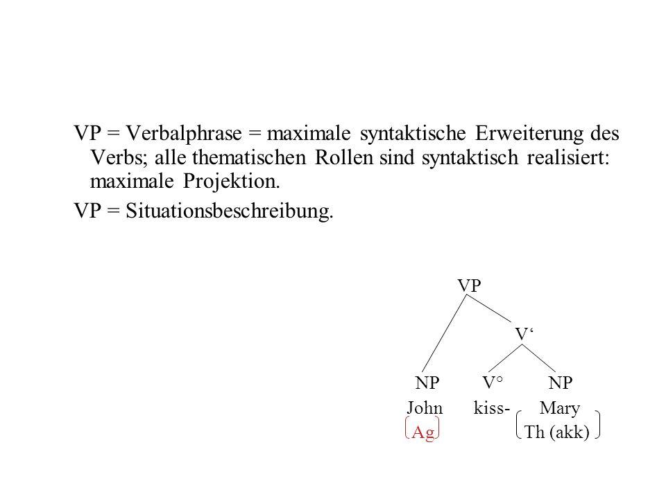 VP = Verbalphrase = maximale syntaktische Erweiterung des Verbs; alle thematischen Rollen sind syntaktisch realisiert: maximale Projektion. VP = Situa