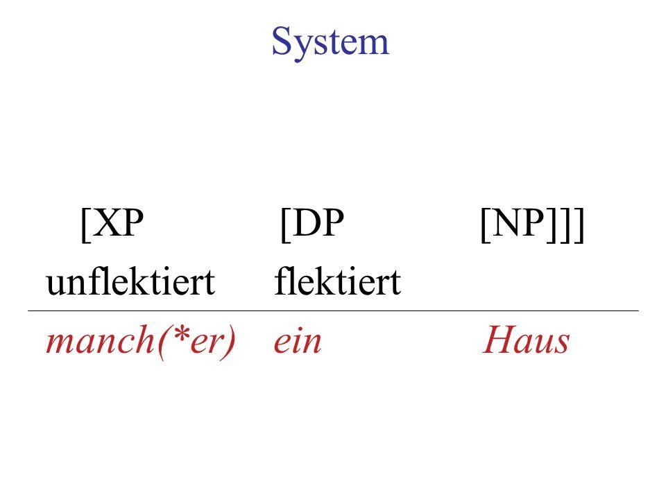 System [XP[DP[NP]]] unflektiertflektiert manch(*er) ein Haus