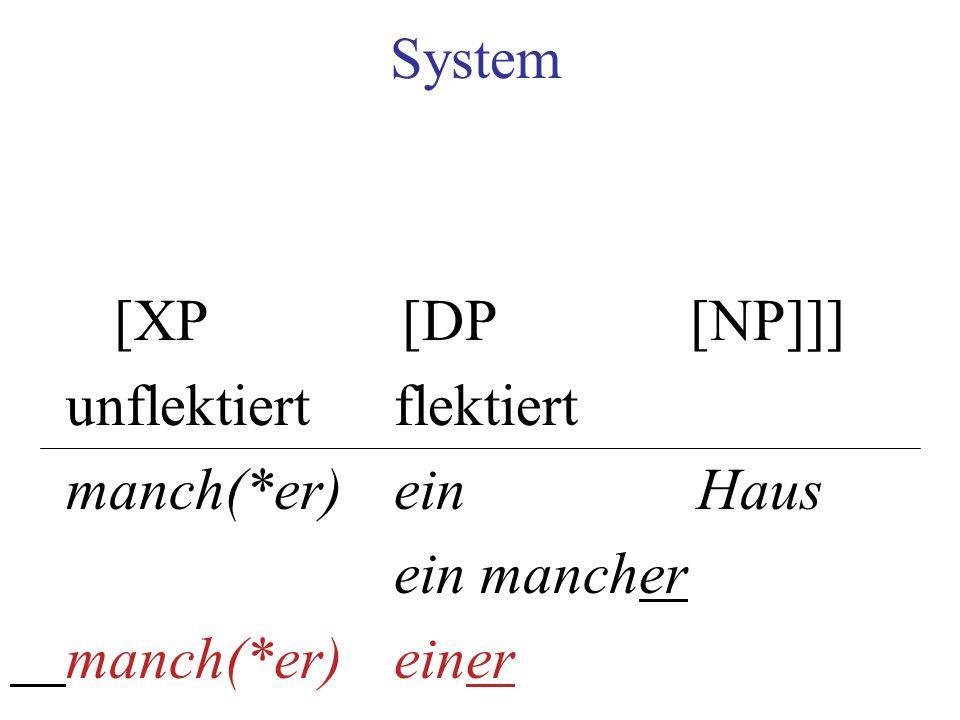 System [XP[DP[NP]]] unflektiertflektiert manch(*er) ein Haus ein mancher manch(*er)einer