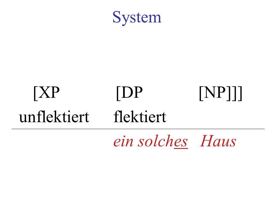 System [XP[DP[NP]]] unflektiertflektiert ein solches Haus