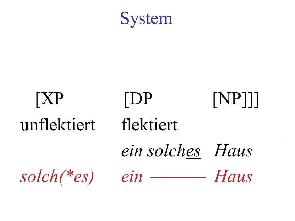 System [XP[DP[NP]]] unflektiertflektiert ein solches Haus solch(*es) ein –––––– Haus