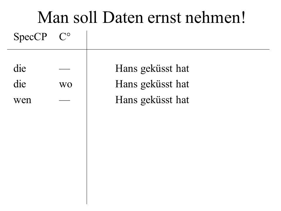 Man soll Daten ernst nehmen! SpecCPC° die––Hans geküsst hat diewoHans geküsst hat wen––Hans geküsst hat