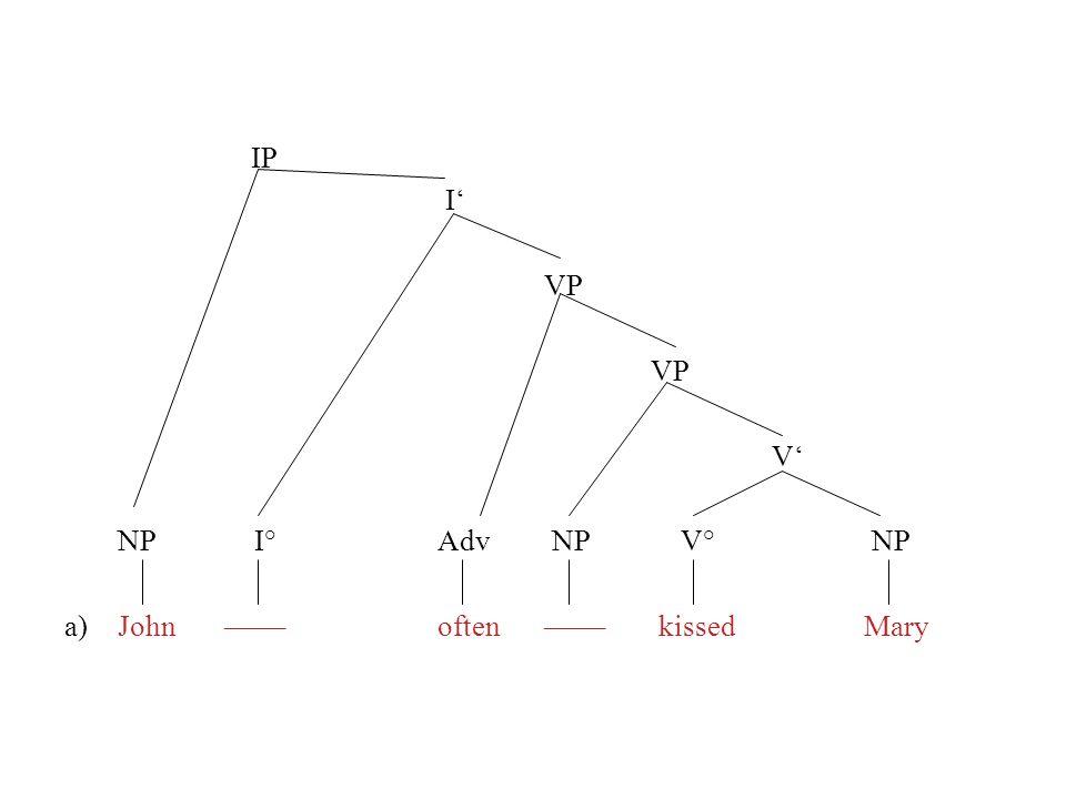 IP I VP V NP I° Adv NP V° NP a)John––––often–––– kissedMary