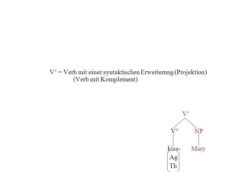 V = Verb mit einer syntaktischen Erweiterung (Projektion) (Verb mit Komplement) V V° NP kiss-Mary Ag Th