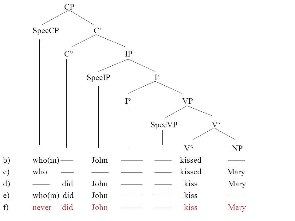 CP SpecCP C C° IP SpecIP I I° VP SpecVP V V° NP b)who(m) –––John ––––– ––––kissed –––– c)who ––– –––– ––––– ––––kissed Mary d)––––did John ––––– ––––