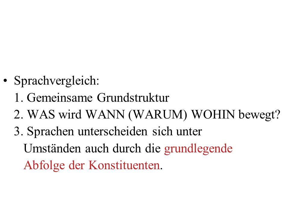 Sprachvergleich: 1. Gemeinsame Grundstruktur 2. WAS wird WANN (WARUM) WOHIN bewegt? 3. Sprachen unterscheiden sich unter Umständen auch durch die grun