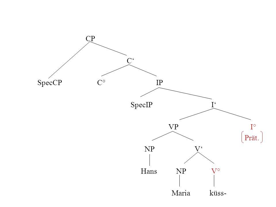 CP C SpecCP C° IP SpecIP I VP I° Prät. NP V Hans NP V° Maria küss-
