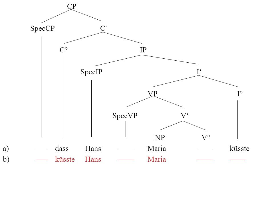 CP SpecCP C C° IP SpecIP I VP I° SpecVP V NP V° a) ––– dassHans –––– Maria –––– küsste b) ––– küsste Hans –––– Maria –––– ––––