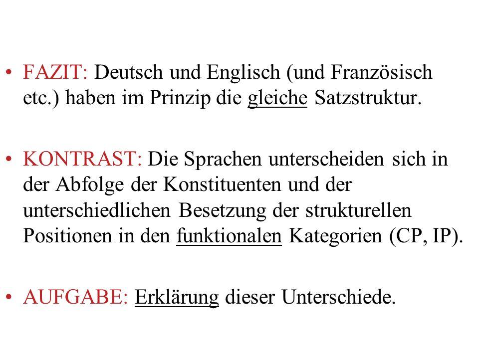 FAZIT: Deutsch und Englisch (und Französisch etc.) haben im Prinzip die gleiche Satzstruktur. KONTRAST: Die Sprachen unterscheiden sich in der Abfolge