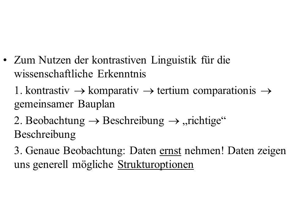 Zum Nutzen der kontrastiven Linguistik für die wissenschaftliche Erkenntnis 1. kontrastiv komparativ tertium comparationis gemeinsamer Bauplan 2. Beob